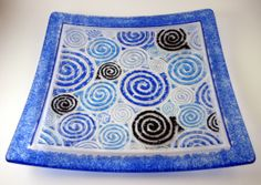 Multi Shades of Blue Swirls Fused Glass Plate by IdleCreativity, $62.00