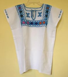 Mexican top blouse embroidered light blue colourful traditional muslin cinco de mayo day of the dead frida kahlo clothing summer pattern by Miamorcitocorazon on Etsy