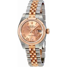 Rolex Oyster Perpetual Lady Roman Diamond Dial Automatic Watch (105880 MAD) ❤ liked on Polyvore featuring jewelry, watches, analog watches, automatic movement watches, diamond watches, pink face watches and rose gold tone jewelry