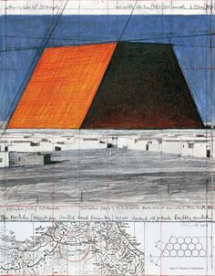 Christo The Mastaba (Project for United Arab Emirates) Collage 2008 14 x x 28 cm) Pencil, wax crayon, pastel, charcoal, technical data and map Ancient Egyptian Tombs, Christo And Jeanne Claude, Wax Crayons, Textiles, Enamel Paint, United Arab Emirates, Happy Colors, Public Art, Contemporary