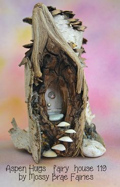 Aspen Hugs - Fairy House made from Aspen and Pinecones with Shell steps, a window in the door and some fairy secrets