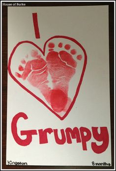 I Love Grumpy footprint craft - great gift for Father's Day or Grandparents Day - House of Burke