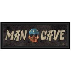 Man Cave - Skull by Eazl Black Framed Premium Gallery Wrap, Size: 12 x 36