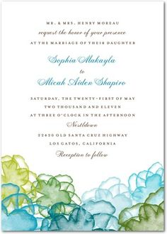 Blue and green wedding invitation