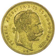 Franz Joseph I. 1848 - 1916 8 Forint 1880 KB Gold, =SELTEN=, letzter Jahrgang bevor das ältere Portrait präsentiert wird!