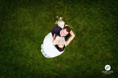 Aerial Wedding Bride and Groom image taken by Pure Love Photography at Hamilton Gardens in Hamilton, New Zealand
