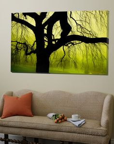 Green and Golden Landscape behind Tree Prints by Jan Lakey - AllPosters.co.uk