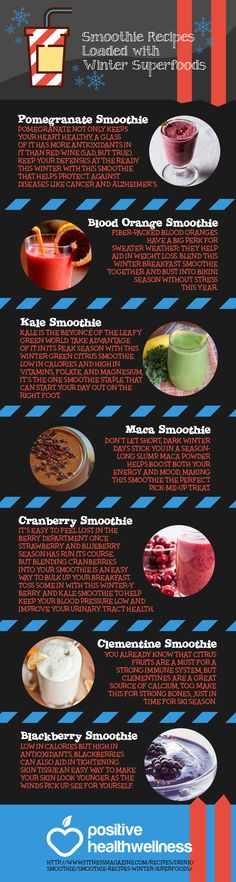 Smoothie Recipes Loaded with Winter Superfoods – Positive Health Wellness Infographic Pomegranate Smoothie, Cranberry Smoothie, Blackberry Smoothie, Orange Smoothie, Protein Smoothies, Smoothie Recipes, Juicy Juice, Toddler Schedule, Healthy Juices
