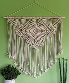 Large macrame wall hanging 'NECKLACE', geometric pattern, boho decor, bedroom…