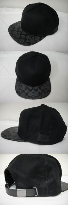 Hats 52365: Nwt Coach F86476 Signature Flat Brim Cap Cotton Blend One Size Charcoal Black -> BUY IT NOW ONLY: $66.99 on eBay!
