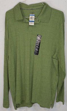 New Alfani Mens Absinthe Heather Green 100% Cotton Long Sleeve Polo Shirt XL NWT #Alfani #PoloRugby