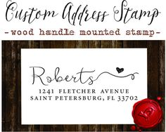 RETURN ADDRESS STAMP Custom calligraphy personalized  address wood handle mounted rubber stamp - style 1166B