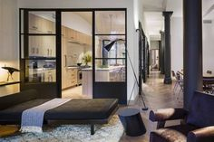 Enclosed + black windows // Kitchen + dining room