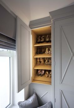 Hidden extra shoe storage - good idea for a corner in a luxury closet. Collection One - Hayburn & Co Dressing Room Design, Dressing Rooms, Beautiful Closets, Luxury Closet, Atlanta Homes, Dream Closets, Make Design, Walk In Closet, Shoe Storage