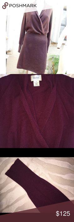 Sweater dress by Neiman Marcus 100% cashmere Sweater wrap dress by Neiman Marcus 100% cashmere size S, perfect condition. Color is purple Neiman Marcus Dresses Midi
