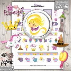 50%OFF - Princess Stickers, Planner Stickers, Rapunzel, Tangled Stickers, Planner Accesories, Unicorn Stickers, Fairy Tale Stickers