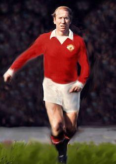 World Cup winner Manchester United and England legend Sir Bobby Charlton Bobby Charlton, World Cup Winners, Manchester United, Posters, Football, Art, Soccer, Art Background, Futbol