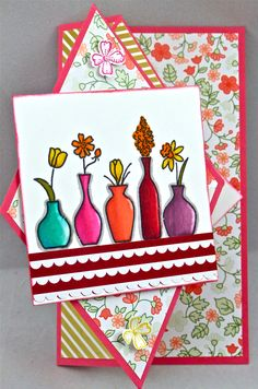 Diamond Fold Floral card. trim the tree dsp paper stack, something to say, label something, life's adventure and vivid vases stamp set.  Thanks to Laura Lipe from Splicoaststampers for inspiration.