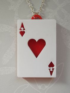 Ace of Hearts Red and White Double Layer Acrylic Necklace £7.00 Wonderland