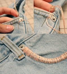 Embroidered Jean Shorts. This would be great to add an extra POP of color!: