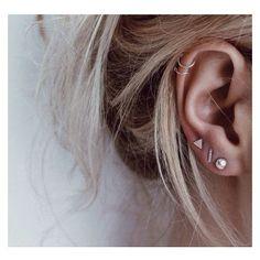 Piccolo orecchino Set di tre via Polyvore featuring earrings