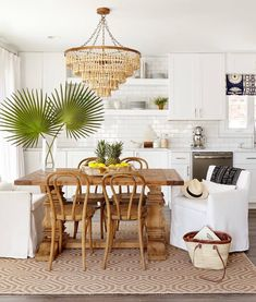 white + natural wood, love the chairs and chandelier