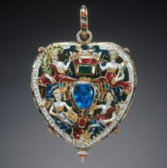 The Darnley or Lennox Jewel; made in gold, probably in Scotland and given to Lady Lennox.  Gold, burmese ruby, emerald and sapphire with very fine polychrome enamel work ('en bosse');  measuring 6.6 cm. x 5.2 cm.  Bought by Queen Victoria  in the 19th century and currently in the Royal Collection.  c. 1575
