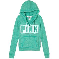 Victoria's Secret PINK Beach Zip Hoodie ($40) ❤ liked on Polyvore featuring tops, hoodies, jackets, outerwear, victoria's secret, striped zip hoodie, zip hoodie, green hooded sweatshirt, slim fit hoodie and green zip hoodie