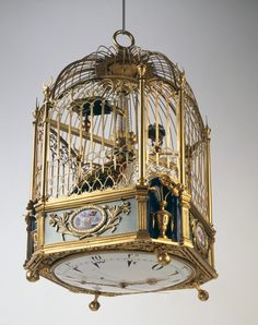 Cage with two singing birds, Jaquet-Droz, coll. Montres Jaquet Droz SA (Sandoz collection)  Pierre Jaquet-Droz (1721—1790) was a Swiss-born watchmaker of the late eighteenth century. He lived in Paris, London, and Geneva, where he designed and built animated dolls, or automata, to help his firm sell watches and mechanical birds.Some consider these devices to be the oldest examples of the computer.  (video about his work here)