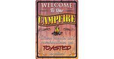 #tosimplyshop Welcome to Our Campfire Sign #gifts #homedecor #gardendecor #decor #home #garden #shopping