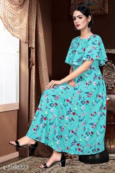 Checkout this latest Dresses Product Name: *Printed Teal Calf-Length Crepe Dress* Fabric: Crepe Sleeve Length: Short Sleeves Pattern: Printed Multipack: 1 Sizes: S, M (Bust Size: 38 in, Length Size: 50 in)  L (Bust Size: 40 in, Length Size: 50 in)  XL (Bust Size: 42 in, Length Size: 50 in)  XXL (Bust Size: 44 in, Length Size: 50 in)  Country of Origin: India Easy Returns Available In Case Of Any Issue   Catalog Rating: ★4 (1598)  Catalog Name: Chitrarekha Fashionable American Crepe Women'S Dresses CatalogID_763467 C79-SC1025 Code: 423-5166323-018