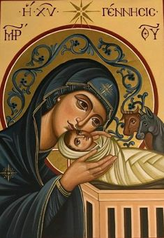 The Nativity of Christ Religious Photos, Religious Icons, Religious Art, Madonna Art, Madonna And Child, Mary And Jesus, Byzantine Icons, Jesus Pictures, Orthodox Icons