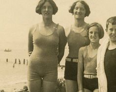 Family on the Beach, Swimmers Vintage RPPC Photo 1930s Bathing Beauty Postcard