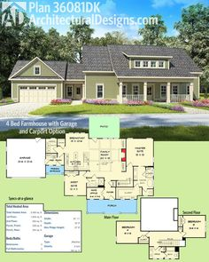 Architectural Designs House Plan 36081DK gives you 4 beds and has a version with a carport! Ready when you are. Where do YOU want to build?