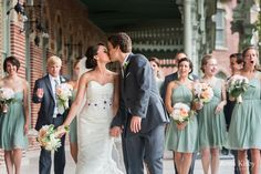 Sage and peach bridal party - Oxford Exchange Wedding Tampa