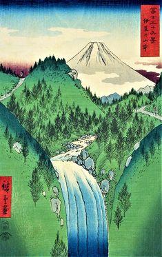 Fuji from the Izu mountains, from the 36 views of Mt. Fuji 1858 series by Utagawa Hiroshige Woodblock Print, Monte Fuji, Art Japonais, Sakura, Japanese Painting, Japanese Prints, Japan Art, Canvas Art Prints, Scenery