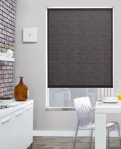 Solar shades are energy efficient window shades that absorb heat, block UV rays, reduce glare, and. Modern Window Coverings, Modern Window Treatments, Door Coverings, Modern Window Shades, Diy Window Shades, House Blinds, Blinds For Windows, Front Windows, Window Blinds
