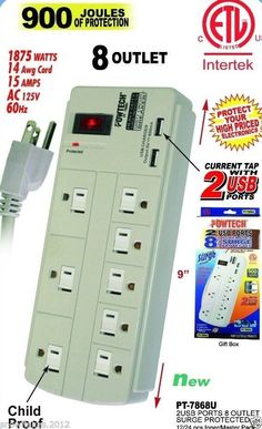 8 OUTLET POWER STRIP SURGE PROTECTOR W/ 2 USB PORTS AND CHILD PROOF - 900 JOULES #POWTECH