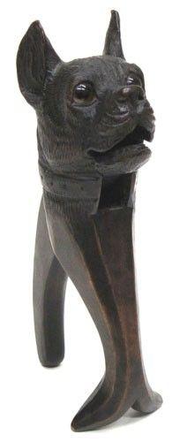 Black Forest Dog Nutcracker. Carved wood with glass eyes;
