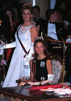 Crown Princess Victoria and Caroline Kreuger at the Ball of the Order of Innocence: Nov.1997
