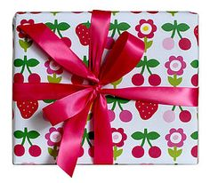 Cherry And Strawberry Wrapping Paper - wrapping paper