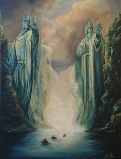 The Argonath by on DeviantArt - MyStyles Hobbit Art, O Hobbit, Fellowship Of The Ring, Lord Of The Rings, Fantasy World, Fantasy Art, Legolas, Gandalf, Jrr Tolkien
