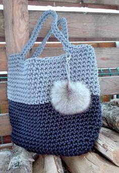 Cord bag Sack Knit pouch Handbag Knitted women by NataNatastudio