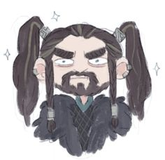 Thorin with pigtails, I don't know why this exists but I'm glad it does.