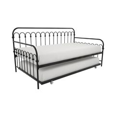 The charming Bright Pop Twin Daybed and Trundle by Novogratz is a great space-saving solution for any kids bedroom or guestroom. Sleeps 2 comfortably, perfect for sleepovers. Features rounded edges, classic vertical slats and a pullout trundle. Basement Guest Rooms, Small Basement Remodel, Guest Bedrooms, Metal Daybed With Trundle, Trundle Mattress, Travel Size Toiletries, Mattress Springs, Farmhouse Interior, Farmhouse Chic