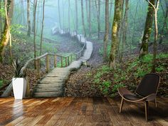 Details about Wall removable sticker wallpaper vinyl mural fog forest Amazing illusion for your interior! Removable sticky mural, wallpaper, vinyl sticker, peel and stick. Green forest in fog. High quality self-adhesive peel and stick mural. Wallpaper Floor, Modern Wallpaper, Nature Wallpaper, Forest Wallpaper, Wallpaper Murals, Tree Wallpaper, Vinyl Wallpaper, Forest Room, Forest Mural