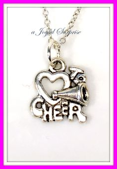 Silver Cheerleader Necklace, Gift for Cheerleader, Cheerleading Necklace, Cheerleader Jewelry, I Love to Cheer Charm, Cheerleading Jewelry A personal favorite from my Etsy shop https://www.etsy.com/ca/listing/265071458/silver-cheerleader-necklace-gift-for