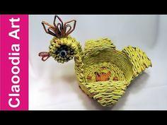 (7) Koszyk kura, papierowa wiklina (hen, basket wicker paper) - YouTube