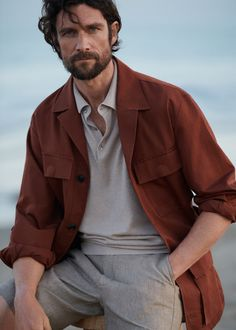 Lovely Mens Shorts Styles Ideas That Looks Cool Color Terracota, Black Outfit Men, Portrait Photography Men, Summer Jacket, Work Jackets, Well Dressed Men, Mode Outfits, Gentleman Style, Looks Cool
