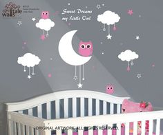Nursery Wall Decals Baby Owls for Sweet Dreams with clouds and stars vinyl wall decals for girls and boys on Etsy, $58.00
